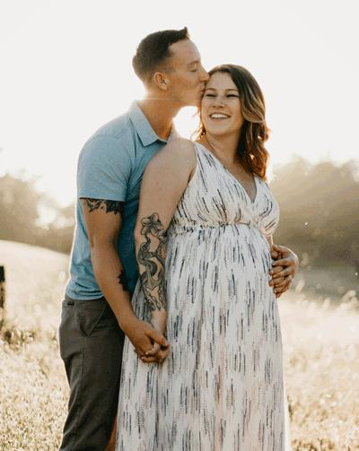 Young couple, woman pregnant